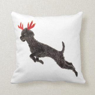 Christmas Black Toy Poodle Dog Reindeer Antlers Cushion
