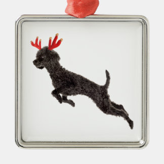 Christmas Black Toy Poodle Dog Reindeer Antlers Silver-Colored Square Decoration