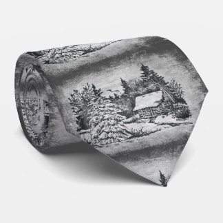 Christmas black&white cottage painted Holiday Tie