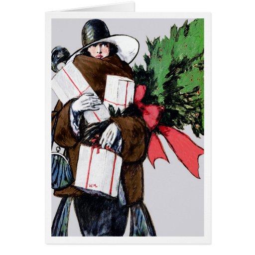 """CHRISTMAS BLEND"" PLEASE VINTAGE ART DECO SHOPPER GREETING CARD"