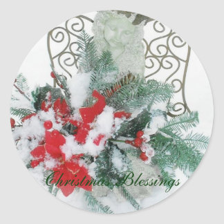 Christmas Blessings Angel Classic Round Sticker