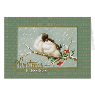 Christmas Blessings SnowBirds Vintage Reproduction Card