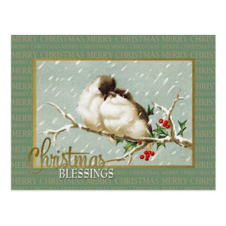 Christmas Blessings SnowBirds Vintage Reproduction Postcard