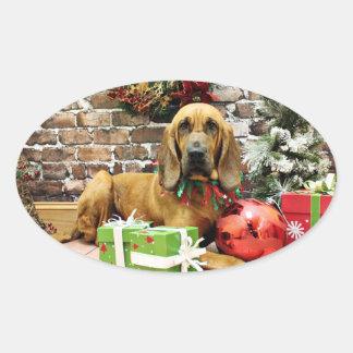 Christmas - Bloodhound - Penney Oval Sticker