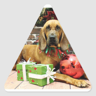 Christmas - Bloodhound - Penney Triangle Sticker