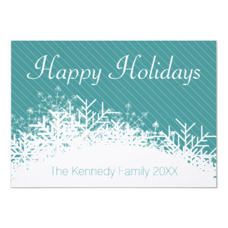 Christmas blue Background with snowflakes 13 Cm X 18 Cm Invitation Card