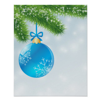 Christmas Blue Ball Poster