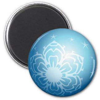 Christmas Blue Bubble Snowflakes & Stars 6 Cm Round Magnet