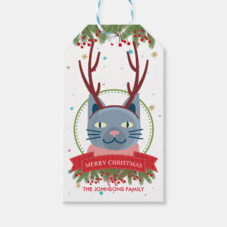 Christmas Blue Cat Funny Gift Tags