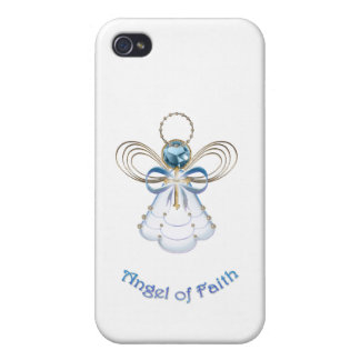 Christmas Blue Filigree Angel of Faith Covers For iPhone 4