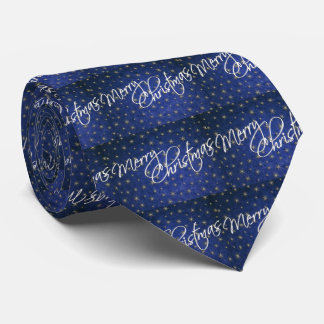 Christmas Blue Glitter Merry Christmas Men's Tie