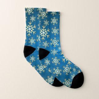 Christmas blue gold snowflake pattern socks 1