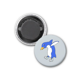 Christmas Blue Penguin with Silver Ice Skates 3 Cm Round Magnet