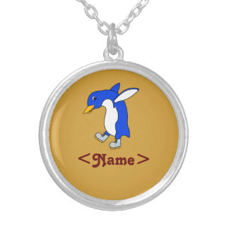 Christmas Blue Penguin with Silver Ice Skates Round Pendant Necklace