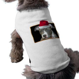 Christmas blue pitbull puppy doggie tee
