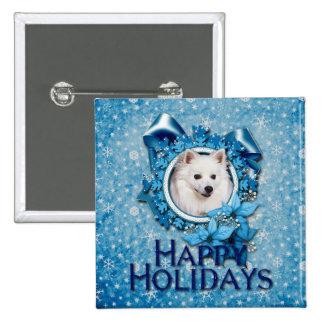 Christmas - Blue Snowflake - American Eskimo Pinback Buttons