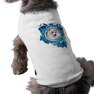 Christmas - Blue Snowflake - American Eskimo Dog T-shirt