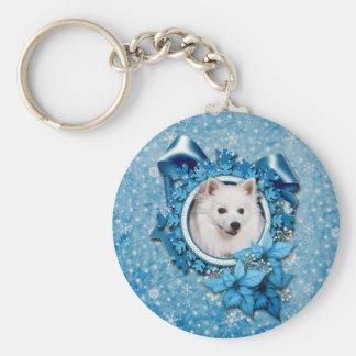 Christmas - Blue Snowflake - American Eskimo Keychain