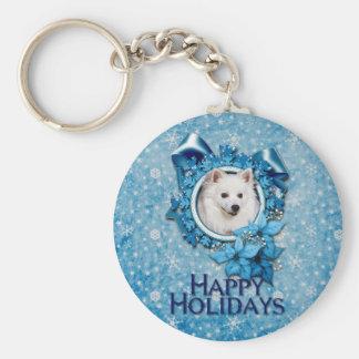 Christmas - Blue Snowflake - American Eskimo Keychains