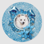 Christmas - Blue Snowflake - American Eskimo Round Stickers