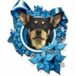 Christmas - Blue Snowflake - Australian Kelpie Photo Sculpture Decoration