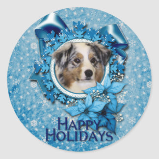 Christmas - Blue Snowflake - Australian Shepherd Classic Round Sticker