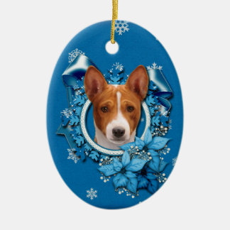 Christmas - Blue Snowflake - Basenji Ceramic Oval Decoration