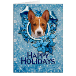 Christmas - Blue Snowflake - Basenji Greeting Card