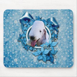 Christmas - Blue Snowflake - Bedlington Terrier Mouse Pad