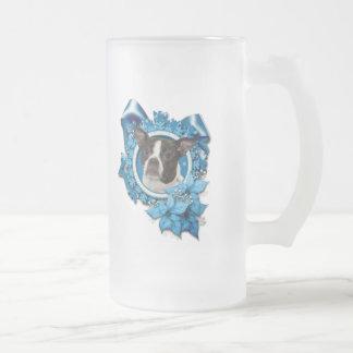 Christmas - Blue Snowflake - Boston & Rat Terrier Frosted Glass Mug