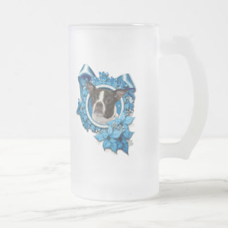 Christmas - Blue Snowflake - Boston & Rat Terrier Coffee Mugs