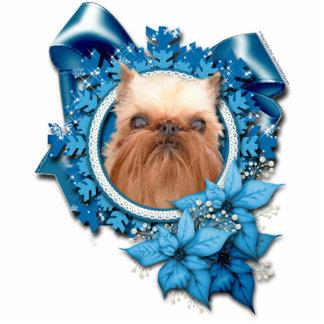 Christmas - Blue Snowflake - Brussels Griffon Photo Sculpture Decoration