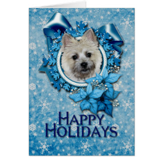 Christmas -Blue Snowflake Cairn Terrier Teddy Bear Greeting Card
