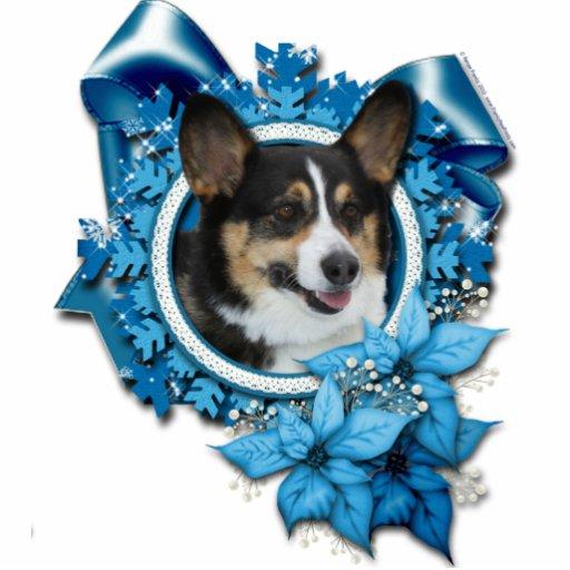 Christmas - Blue Snowflake - Corgi Photo Cut Outs