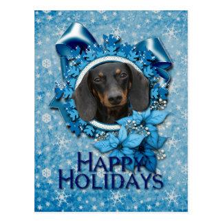 Christmas - Blue Snowflake - Dachshund - Winston Postcard