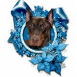 Christmas - Blue Snowflake - Doberman - Rocky Photo Sculpture Decoration