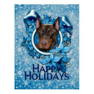 Christmas - Blue Snowflake - Doberman - Rocky Postcard
