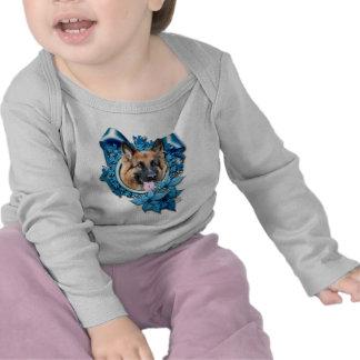 Christmas - Blue Snowflake -German Shepherd Chance Tee Shirt