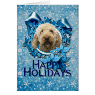 Christmas - Blue Snowflake - Goldendoodle Greeting Card
