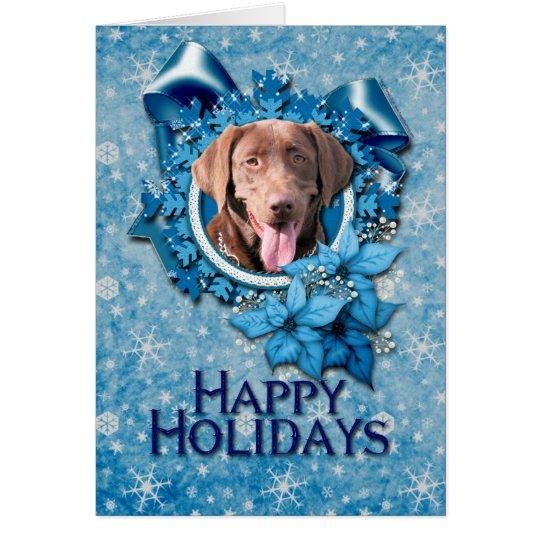 Christmas - Blue Snowflake - Labrador - Chocolate