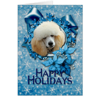 Christmas - Blue Snowflake - Poodle - Apricot Card