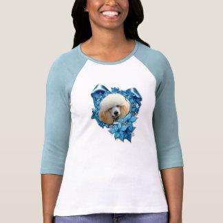 Christmas - Blue Snowflake - Poodle - Apricot T-shirt