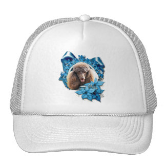 Christmas - Blue Snowflake - Poodle - Chocolate Trucker Hat