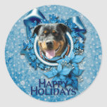 Christmas - Blue Snowflake - Rottweiler SambaParTi Round Stickers