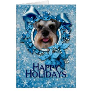 Christmas - Blue Snowflake - Schnauzer Greeting Card