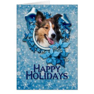 Christmas - Blue Snowflake - Sheltie Card