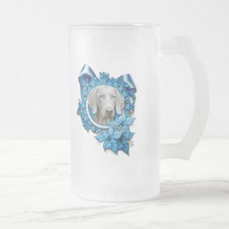 Christmas - Blue Snowflake - Weimeraner - Blue Eye Frosted Glass Beer Mug