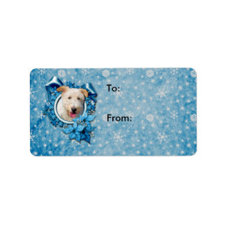 Christmas - Blue Snowflake Wire Fox Terrier Hailey Address Label