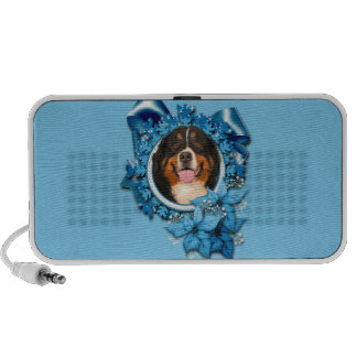 Christmas - Blue Snowflakes - Bernese Mountain Dog Notebook Speakers