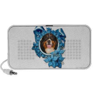 Christmas - Blue Snowflakes - Bernese Mountain Dog PC Speakers